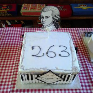 Cake made for the Celebrate Mozart's Birthday concert by Dorchester Piano Quartet on 27th Jan 2019