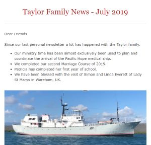 The top part of the Taylor news update on 10th July 2019