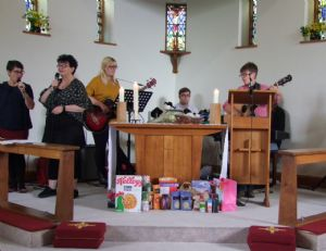 photo during worship at St Dunstan's on Harvest Sunday 2019