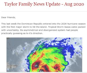 Image from the top of the Malcolm and Yanet Taylor News Update for August 2020