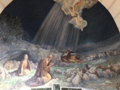 Fresco in Shepherds Field Chapel.  Photo taken during Holy Land Pilgrimage 30th Nov 2018