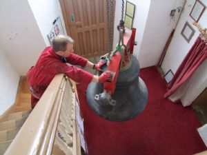 Sixth photo in the journey of the removal of Number 5 Bell from Lytchett Minster Parish Church in 4th November 2019