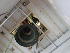 Third photo in the journey of the removal of Number 5 Bell from Lytchett Minster Parish Church in 4th November 2019