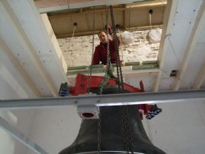 Fourth photo in the journey of the removal of Number 5 Bell from Lytchett Minster Parish Church in 4th November 2019