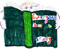Logo - boy reading a book