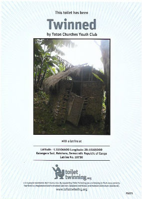 Youth Club Toilet Twin Certificate showing photo of toilet in the Congo