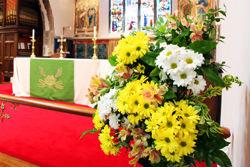 flowers in church