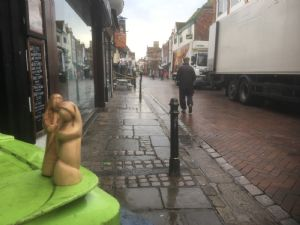 Mary and jospeh figures on Canterbury high street in rain