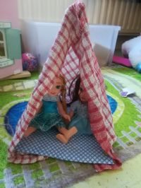 a small tent made for two dolls