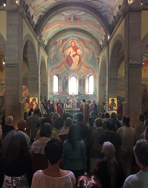 Faithful at St Michel du Var Monastery