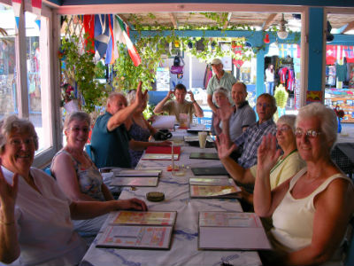 housegroup lunch on a Greek island