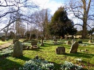 Churchyard in early Spring with snowdrops