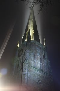 St Mary's Spire floodlit