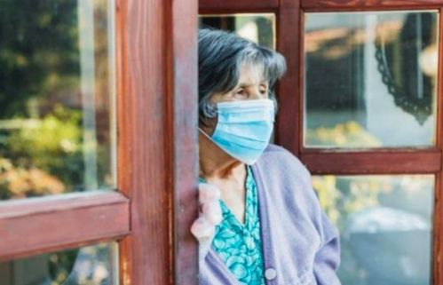 Old lady with face mask