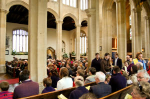 easter day congregation from side