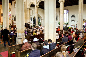 easter congregation from side