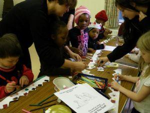 Age 3-6 Sunday school group doing craft