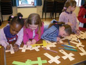 Children in Good Friday workshop