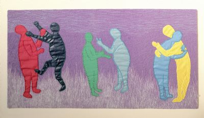 'Peace & Reconciliation - 6 Figures' Textile Artwork by Pamela Pavitt