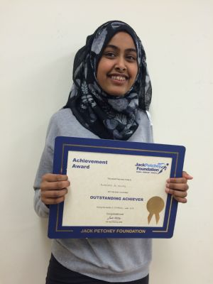 Congrats to Rumaisah for her Jack Petchey Achievement Award !