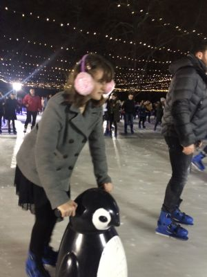 Courage on ice - great resilience as our 1st-time skater negotiates a packed ice-rink.