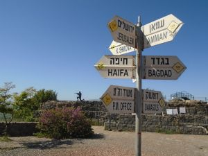 signpost at the Golan Heights