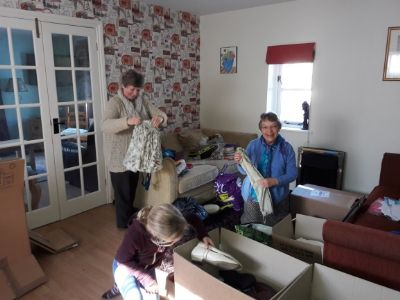 Sorting donations into boxes