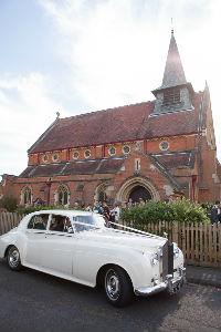 wedding car outside the church