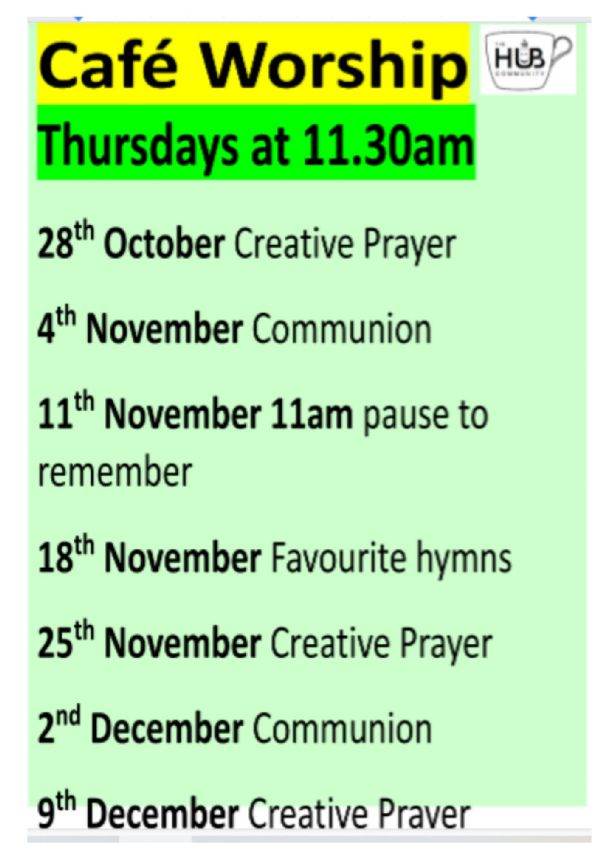 A Flyer with Dates for thursday worship