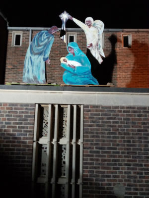 Our nativity on the roof of St Edmunds Church