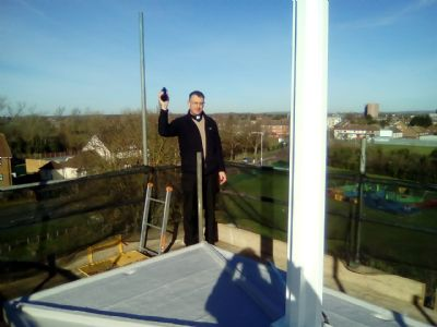 Blessing the newly refurbished spire