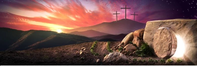 Easter tomb and crosses