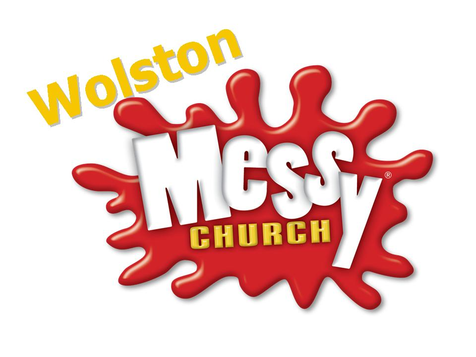 An image that shows the standard Messy Church logo with Wolston added.