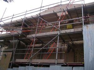 scaffolding hides church