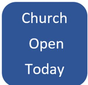 Blue background with church open today
