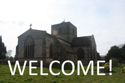 Picture of church with Welcome