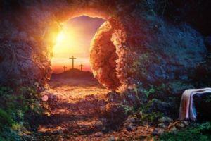 Easter tomb, sunrise, crosses in background