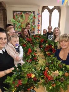 Wreath making at the Mums group