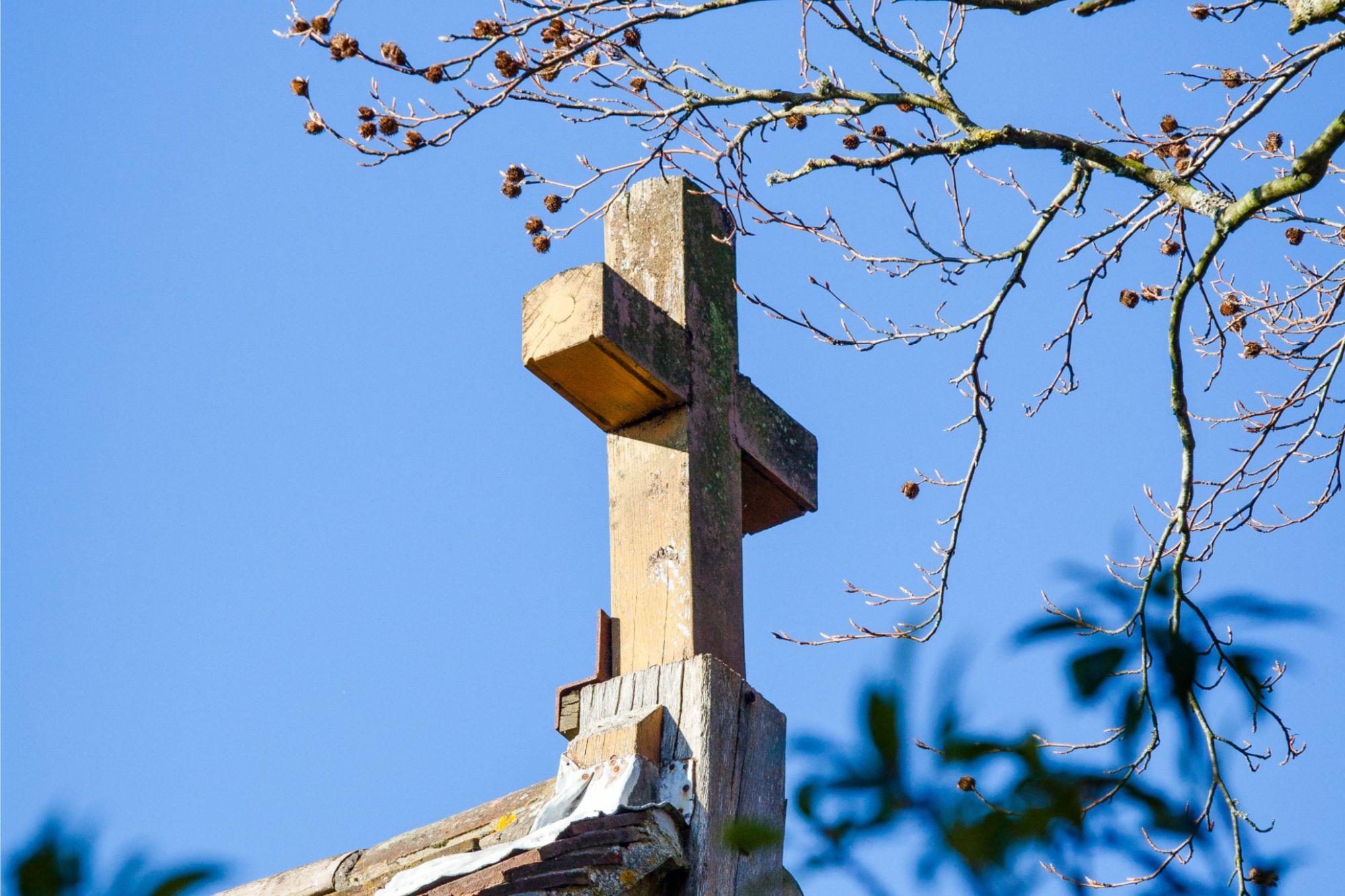 Wooden Cross on outside of St Richard's Church