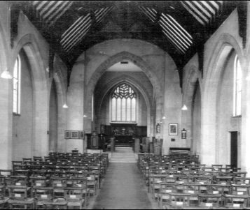 Inside St Richard's before South Aisle built (date unknown)