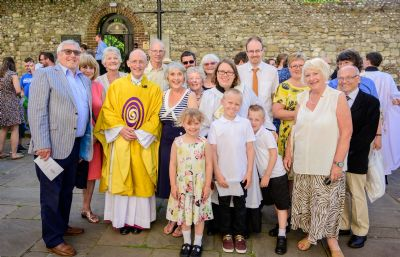 Torhild with members of the Benefice congregation and Bishop Martin