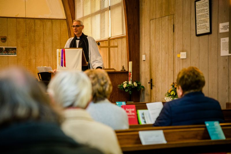 Revd Mitch preaching in St George's