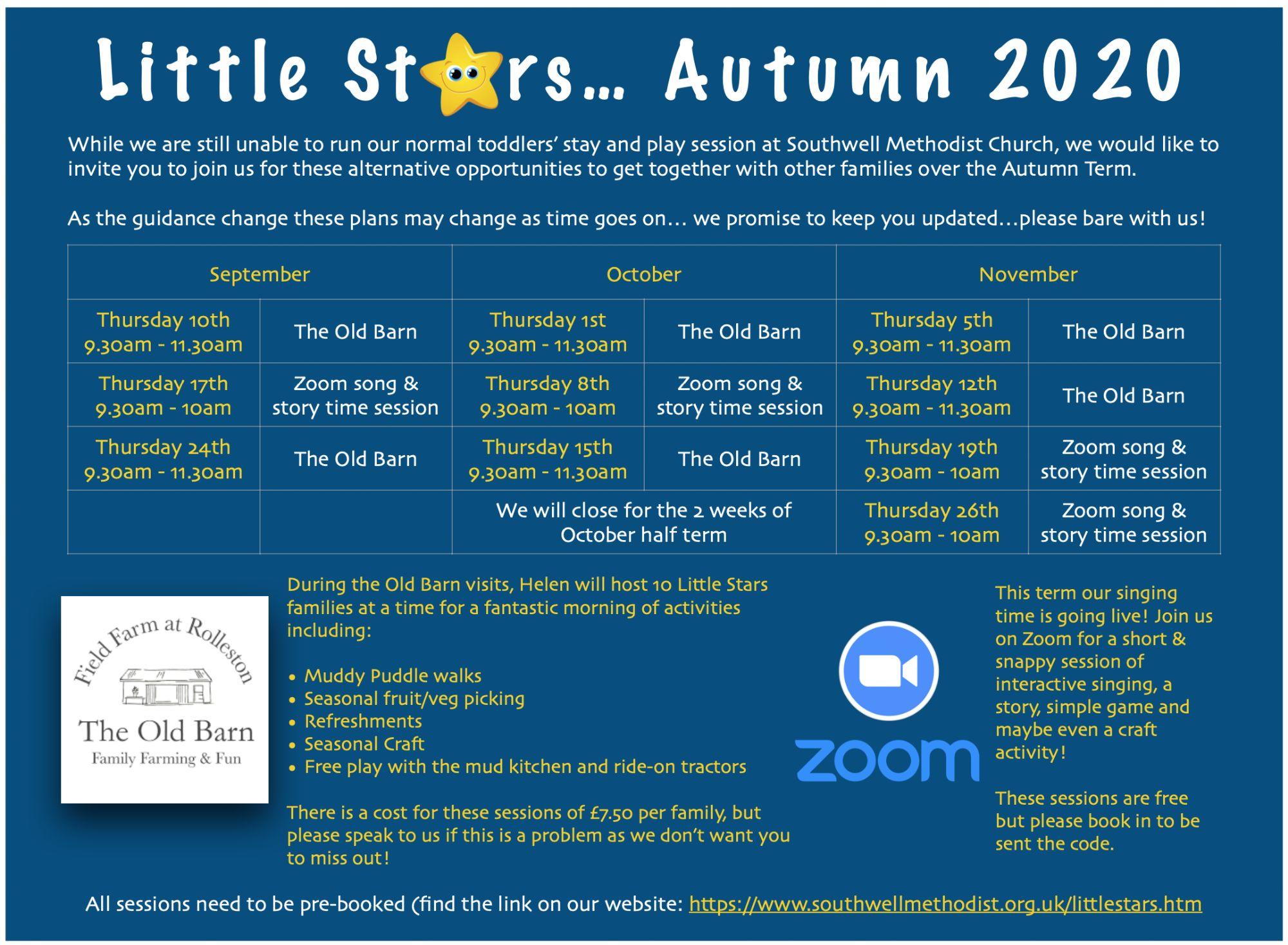 Autumn term timetable