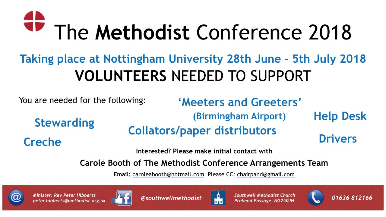 Methodist Conference Help Wanted