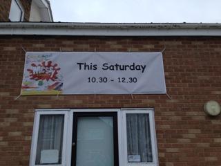 Messy Church banner at Peachcroft
