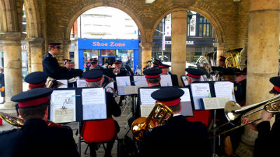 Band playing in Cathedral Square - 26 April 2015