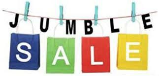 coloured words jumble sale on washing line