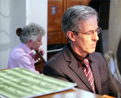 Duncan at the organ console, with Robert Max on cello