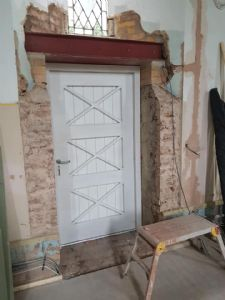 The door to get to the outside has been fitted
