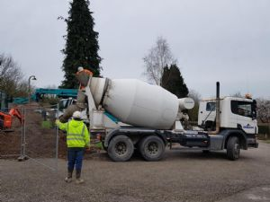 One of the fleet of concrete mixers on Friday